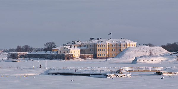 Suomenlinna fortress island in winter