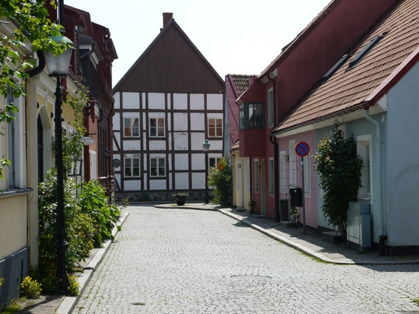 Half-timbered houses and cobblestone roads in Ystad