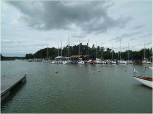 Loads of moorings with stern buoys line the quay around the restaurant