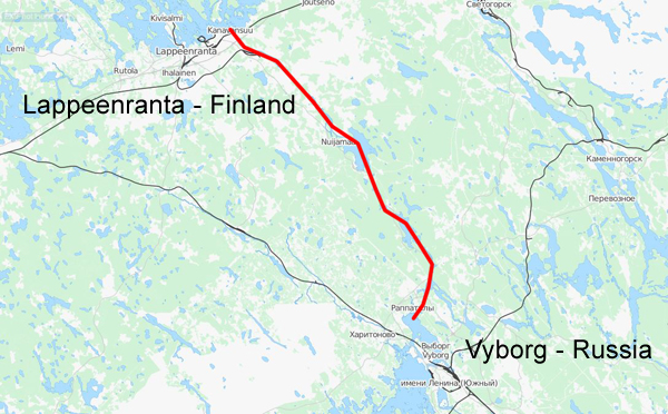 The Saimaa Canal stretches from the city of Vyborg on the Russian side to the city of Lappeenranta on the Lake Saimaa in Finland. Map © OpenStreetMap contributors