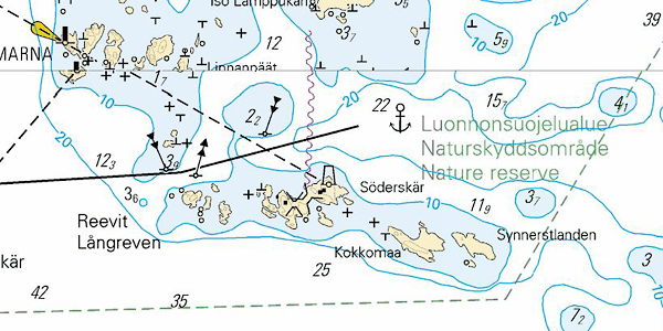 A nature reserve. Landing and acnhoring is not permitted except if there are official channels or moorings. The anchor mark on the chart in interesting as no small vessel would be adviced to anchor in more than 20 meters of water.