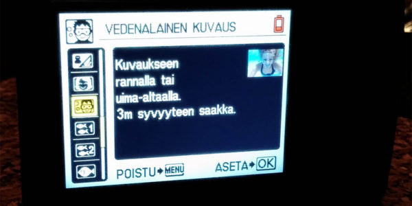 Camera menu in Finnish gives clues about the owner