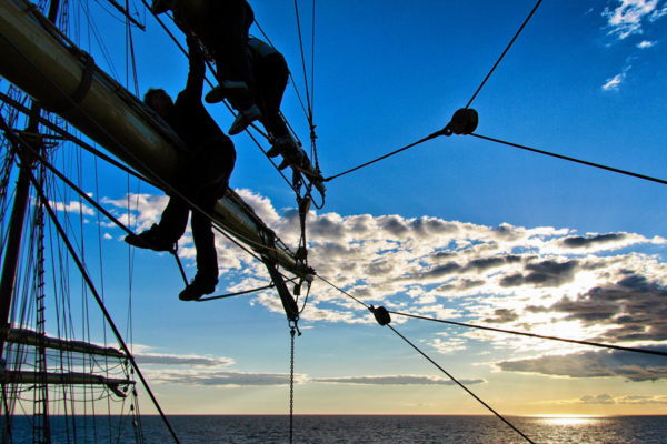 Sunset sail change at Tall Ships Races